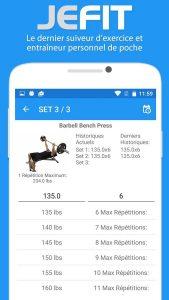 application JEFIT écran d'exercice en séance