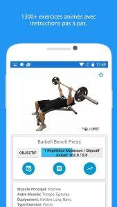 application JEFIT descriptif exercice