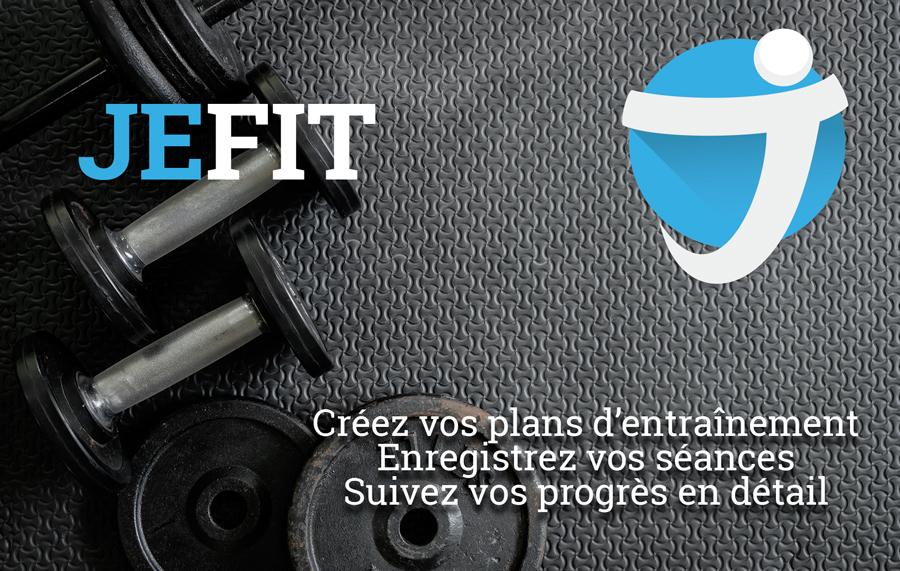 haltères et logo de l'application JEFIT