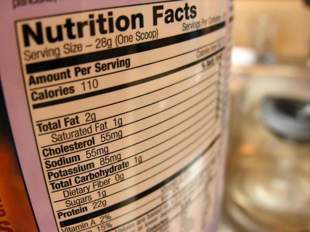 étiquette nutrition